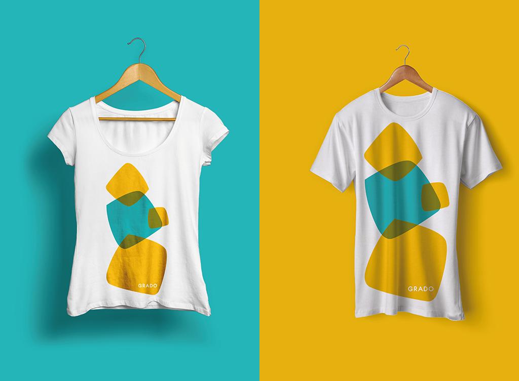 """Merchandising: applicazione marchio """"Grado – Più di un'isola"""" su t-shirt"""